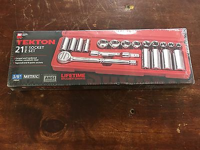 TEKTON 11601 3/8in Drive Socket Set Metric 21pc Socket