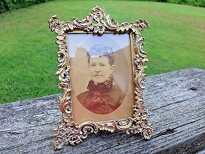 Vintage Small Ornate Brass Picture Frame-Convex Glass-Old Photo-5 1/2""