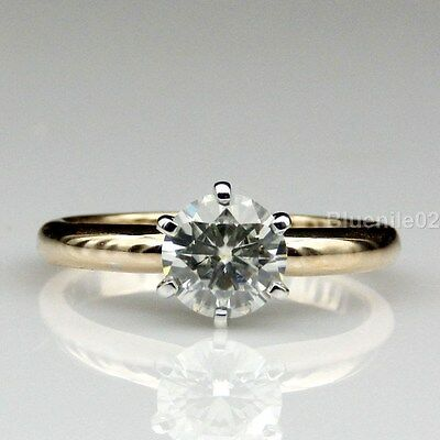 2.00 ct Round Cut White Moissanite Six Prong Engagement Ring in 14k Yellow Gold