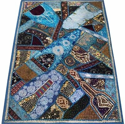 """60"""" Stunning India Art Ethnic Décor Sari Beads Sequin Lace Wall Hanging Tapestry"""