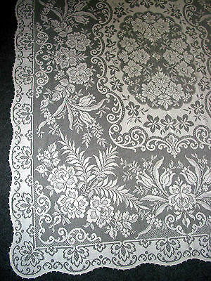 "Vintage Filet Lace Tablecloth 82""x60""  Victorian style Tea Party,Wedding,Shabby"