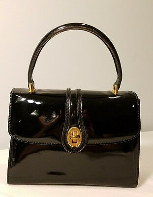 GUCCI RARE Vintage Black Patent Leather Purse circa 1970's Gold Hardware