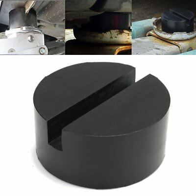 1Pc Black Rubber Car SUV Slotted Frame Rail Floor Jack Disk Pad Adapter 75x35mm