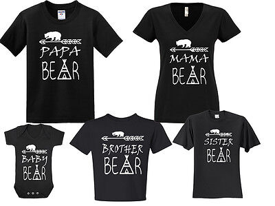 NEW! Papa Bear Mama Bear Baby Bear Sister Bother Bear Black T-shirts Newborn-5XL