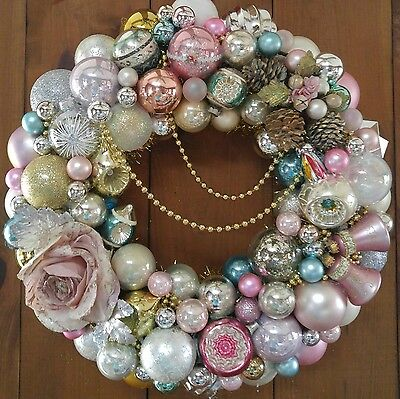 MADE TO ORDER Vintage Christmas Pink Ornament Wreath, Shabby Chic, Shiny Brite