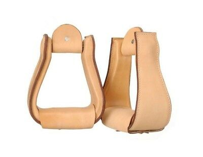 Tough-1 Stirrups Wide Leather Covered Finished Edges 57-98400