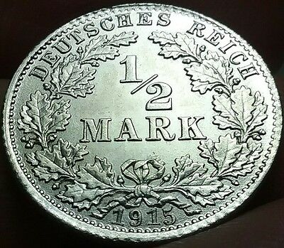 1915 D German 1/2 Mark silver aUNC Free post frankyd360 #ch627d