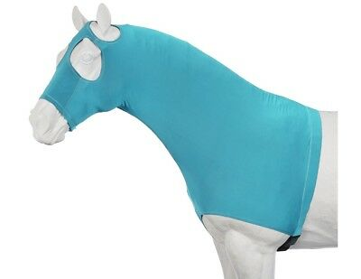 Tough-1 Neck Cover Mane Stay Hood Nylon Spandex Turquoise 65-9173