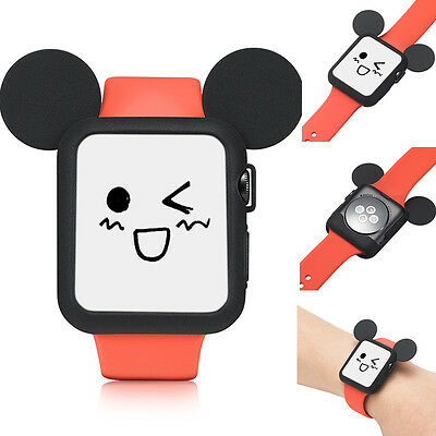 Cute Cartoon Mickey Mouse Ears Soft Silicone Protective Case fr Apple Watch 38mm