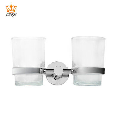 CRW Bathroom Toothbrush Tumbler Holder Kids Wall Mounted Chrome Double Glass Cup
