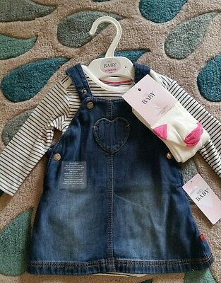 M&S baby set 3-6 months dress dungarees