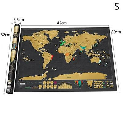 Scratch Off Deluxe World Map Poster Personalized Travel Vacation Log Gift