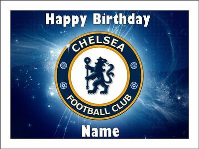 CHELSEA SOCCER A4 Edible Icing Birthday Cake Party Decoration Topper