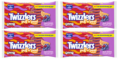 911367 4 x 340g PACKETS OF TWIZZLERS FRUIT PUNCH PULL 'N' PEEL AMERICAN CANDY!