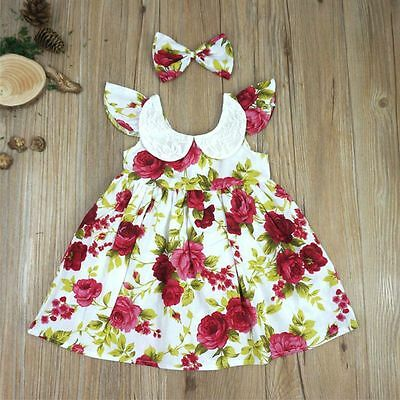 Toddler Baby Infant Girl Floral Dress Bowknot Princess Party Beach Dress AU