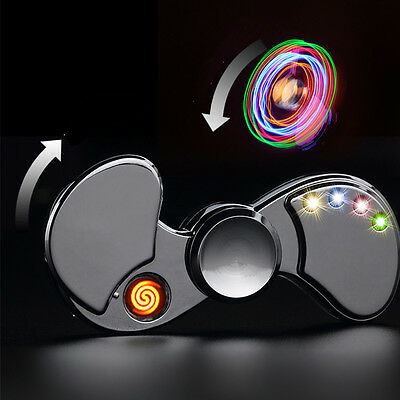 Feuerzeug LED Fidget Spinner Hand Finger Toy Gyro USB Charge EDC ADHS Anti Stres