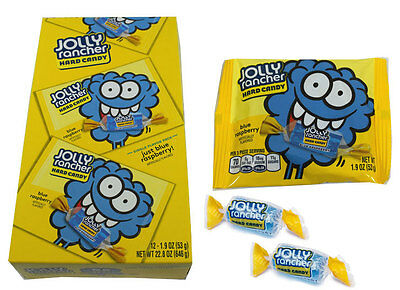 911381 646g BOX OF 12 x JOLLY RANCHER HARD CANDY JUST BLUE RASPBERRY FLAVOR PACK