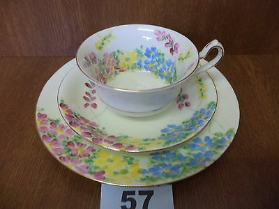 Art Deco Hand Painted Radfords Fenton China  Vintage Tea Trio - Cup Saucer Plate