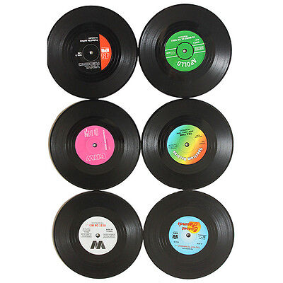 6Pcs Record CD Classic Retro Cup Mat Coffee Black Round Table Drinks Coasters