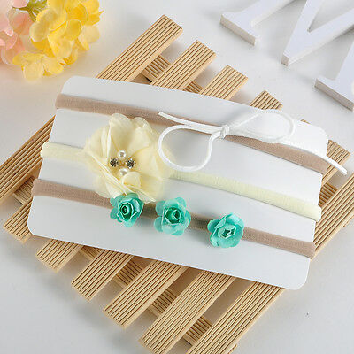 3pcs Fashion Baby Kid Girls Infant Toddler Flower Bow Headband Band Accessories