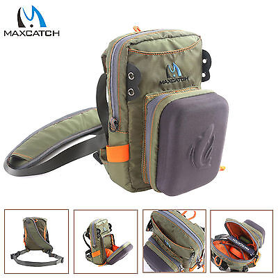 Maxcatch Fly Fishing Tackle Bag Chest Bag Waist Pack with Molded Fly Bench