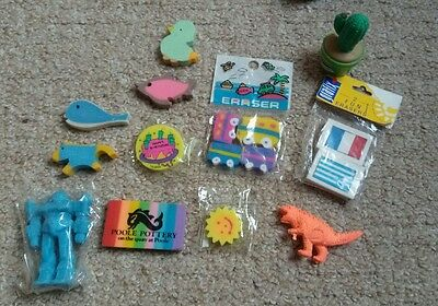 Lot 8 of 12 collectable rubbers/erasers, some Japanese vintage retro,1980's