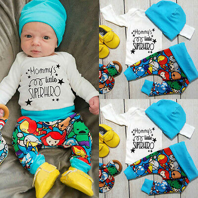 Newborn Baby Boy Little Superhero T-shirt Pants Leggings Hat 3pcs Outfit Clothes
