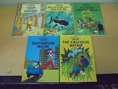 5 X The Adventures Of Tintin Comic Books Herge Paperbacks