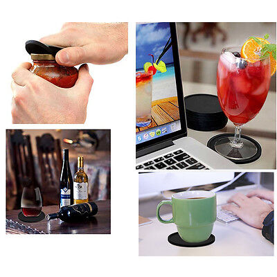 Silicone Drink Coasters Set of 8 - Non-slip Round Soft Coaster Cup Pad Mat