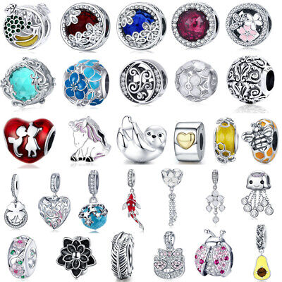 European 925 Silver CZ Charm Beads Pendant Fit sterling Bracelet Necklaces Chain