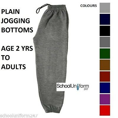 Boys Girls Kids Plain Jogging Bottoms School PE Elasticated Joggers 2-18+ years