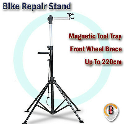 Foldable 4 Leg Home Mechanic Repair Bike Bicycle Stand With Magnetic Work Tray