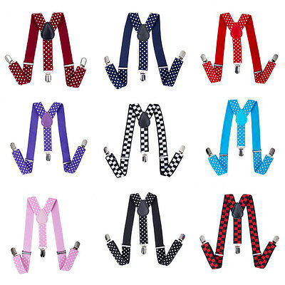 Adjustable Baby Kids Child Suspenders Braces Clips on Print Dot Elastic Trouser