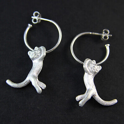 Hallmarked Sterling Silver Playful Cat Half Hoop Fine Earring 11.32g UK New