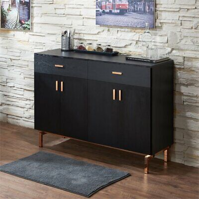 Furniture of America Lauren 2 Drawer Buffet Table in Black