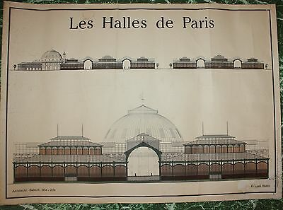 Rare Affiche Ancienne Architecte Baltard  Editions Hazan Les Halles De Paris