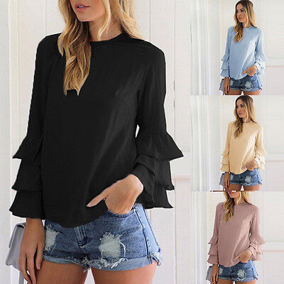 Fashion Women Ladies Summer Long Sleeve Shirt Loose Casual Blouse Tops T-Shirt
