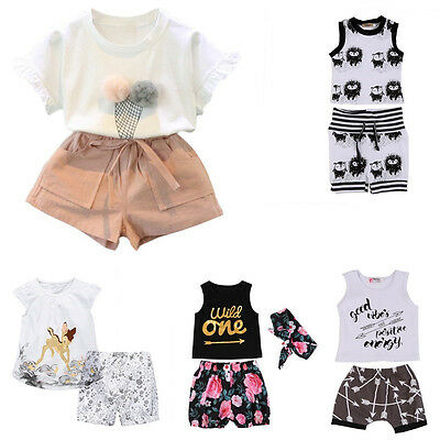 Newborn Kids Baby Boys Girls T-shirt Tops+Short Pants Shorts Outfits Clothes AU