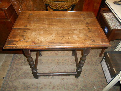 Antique 17Th Century Oak Planked Top Side Table Original Condition Beautiful Col
