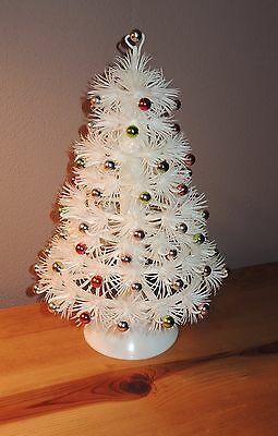"VINTAGE White Plastic Christmas Tree Decoration 10.75"" Table Top Decor"