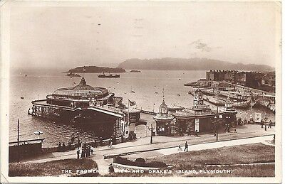 Vintage Real Photographic Postcard, The Promenade Pier and Drake's Island