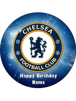 Chelsea Soccer 19cm Edible Icing Image Birthday Cake Topper Party Decoration
