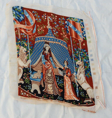 Vintage French Hand Made Needle Point Beautiful Scene Tapestry 49x38cm (T1182)
