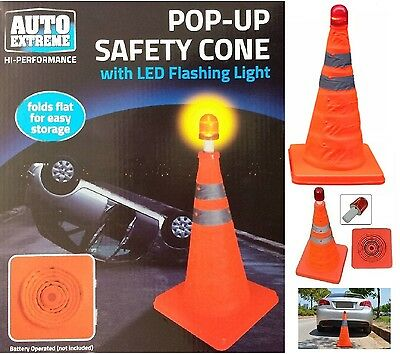 Pop Up Bright Traffic Emergency Safety Cone Flashing LED Roadside Night Light