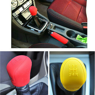 Silicone Car Gear Head Shift Knob Handbrake Cover Non Slip Grip Handle Case
