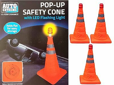 3 x PopUp Bright Traffic Emergency Safety Cone Flashing LED Roadside Night Light