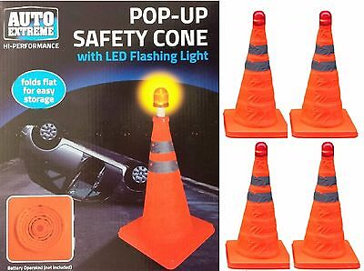 4 x PopUp Bright Traffic Emergency Safety Cone Flashing LED Roadside Night Light