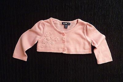 Baby clothes GIRL 0-3m GAP soft cotton pink short-style cardigan embroidered