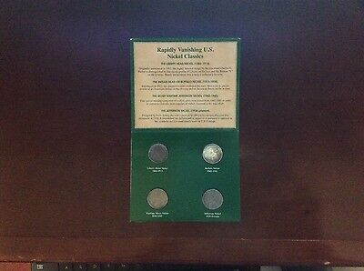 American Nickels of the 20th Century, carded, 4 coins