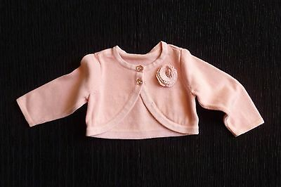 Baby clothes GIRL 3-6m peach-pink short rose bolero-style cardigan sparkly edge